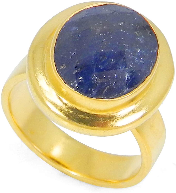 Shilpi Impex Blue Corundum Ring, Sapphire Corundum Ring, Oval Shape, Blue Gemstones Ring, Wedding Ring, Blue Stone Ring, Gold Plated Ring, Gemstone Engagement Ring, Handmade Ring, Size 4 to 13
