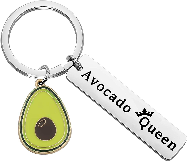 CENWA Avocado Gift Vegan Jewelry Avocado Queen Keychain Gift for Avocado Lovers Vegetarian Jewelry Friendship Keychain