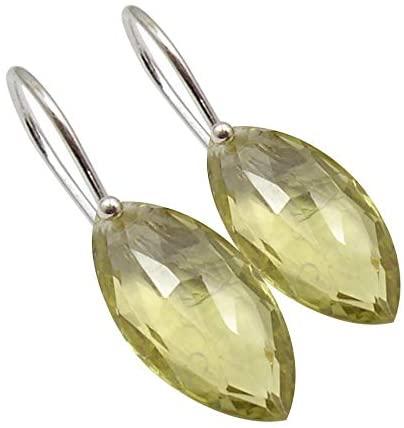 SilverStarJewel Lemon Quartz Earrings 1.3 925 Solid Sterling Silver New Art