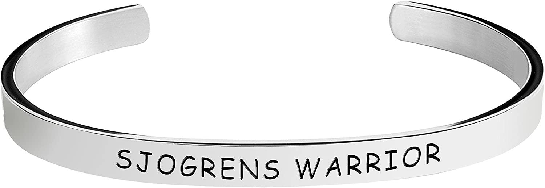 Herlica Sjogrens Syndrome Awareness Bracelet - Sjogrens Warrior - Stamped Bracelets Jewelry Product Gifts for Men/Women