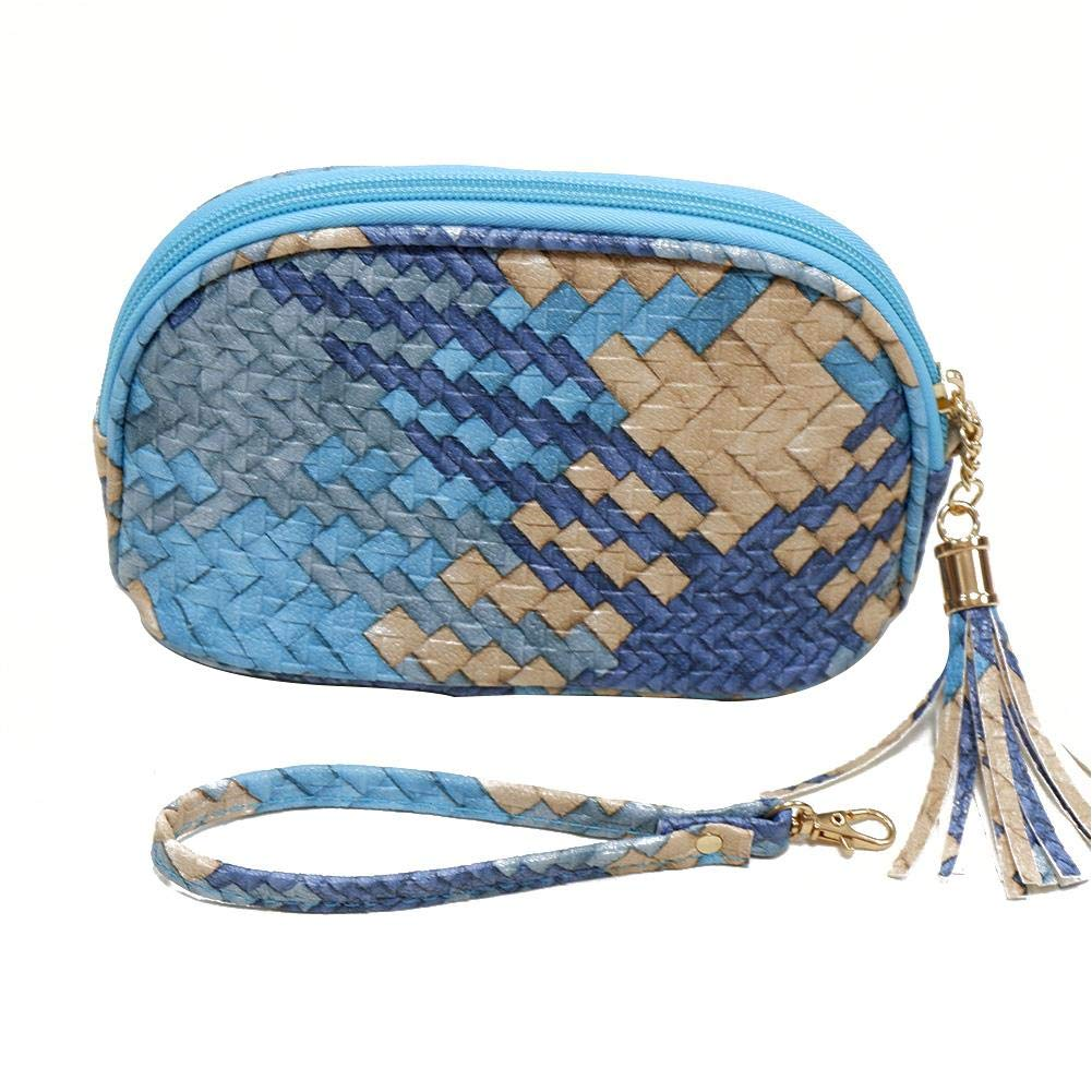 1 Essential Oil Carrying Bag 10-16 Compartments Essential Holder Travel Cases PU Braided Portable Organizer Storage Bag for Perfume Oil Bottles Small Hand Carry Accessories Organizer (Blue)