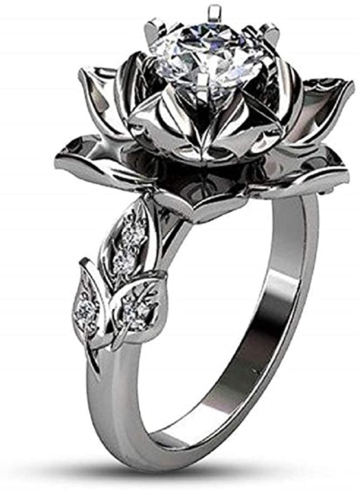 TVS-JEWELS Simulated Diamond 925 Sterling Silver Daily Use Unique Lotus Flower Engagement Ring