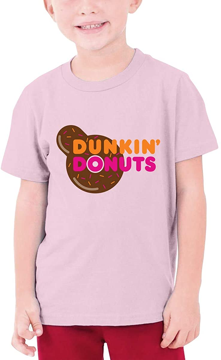 Boys and Girls Teens Short Sleeve T-Shirt Dunkin-Donuts Unique Retro Design Pink
