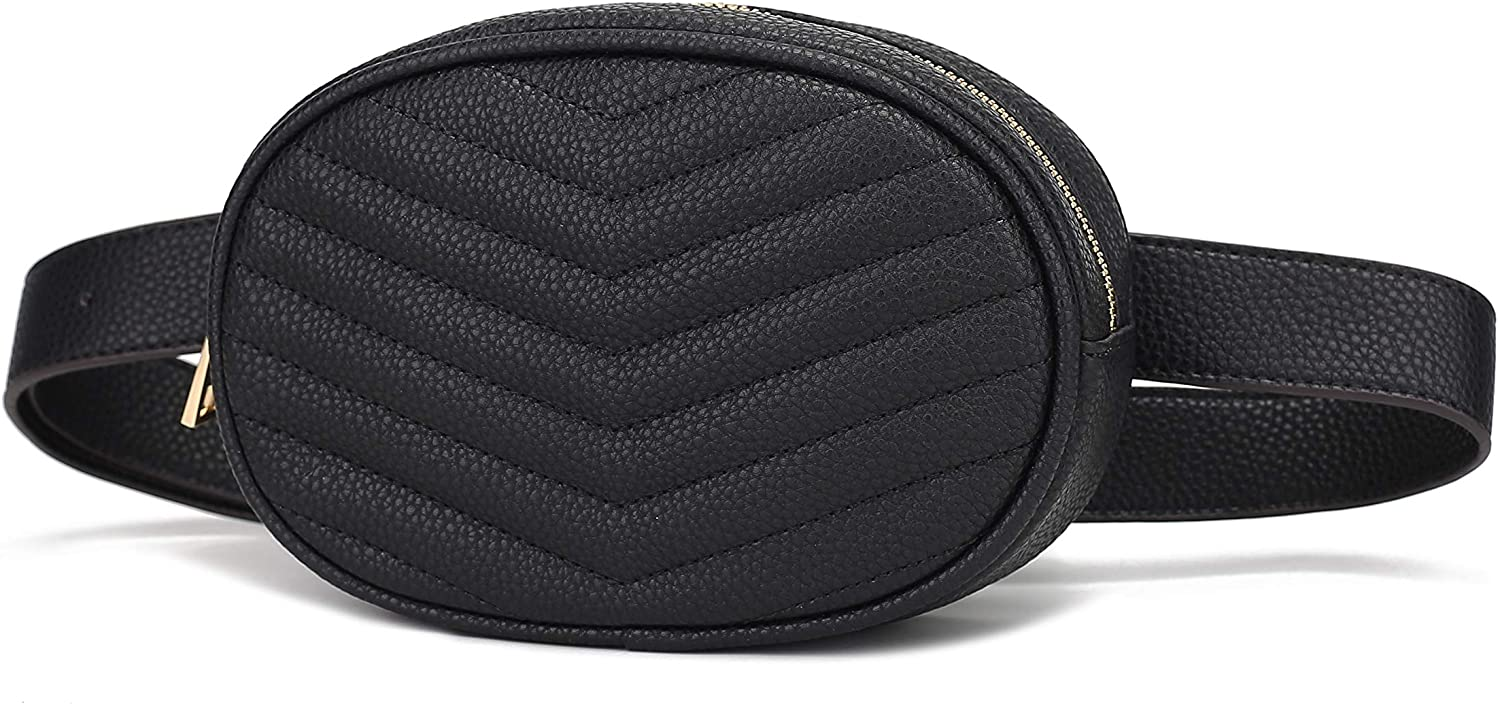 Mia K. Collection Fatima Women's Fanny Pack Quilted Chevron Women's Belt Waist & Cell Phone Multi use Bag