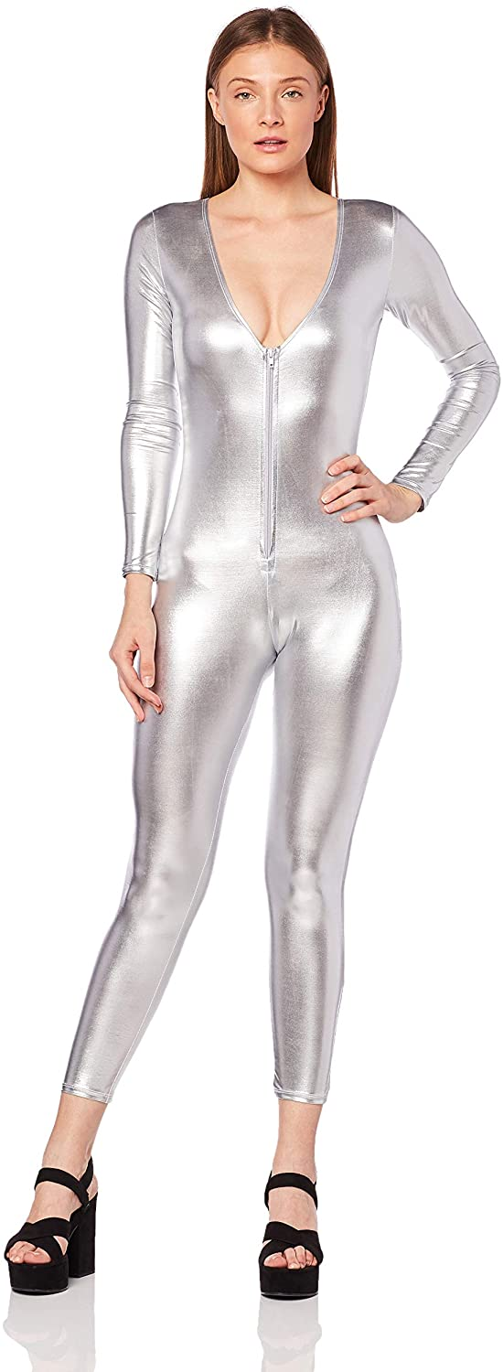 Forplay Zip Front Catsuit Silver