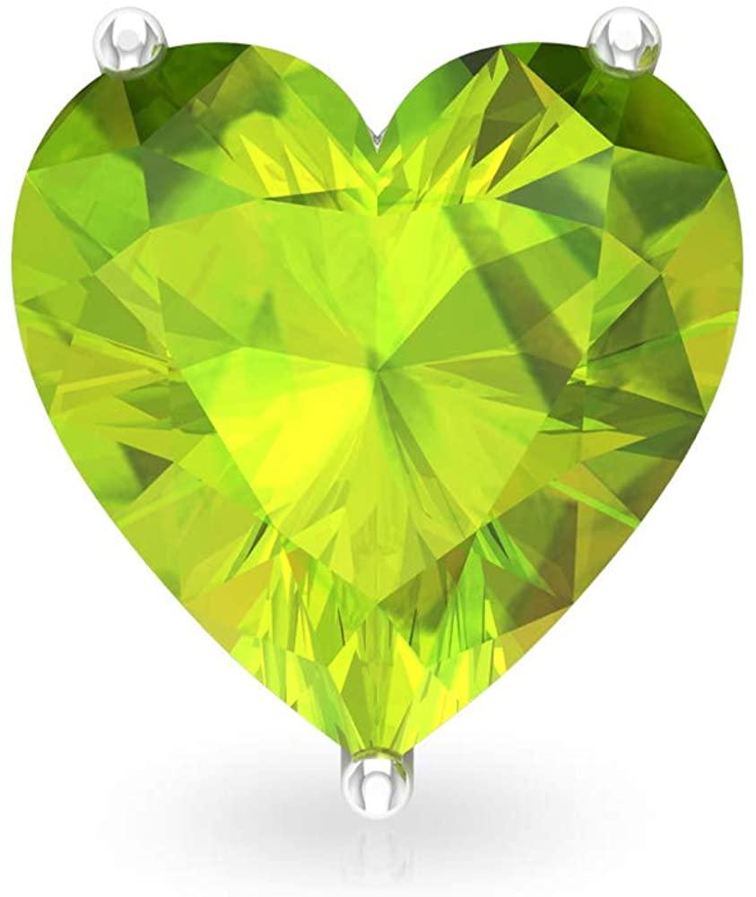 3Ct Peridot Solitaire Stud Earring, SGL Certified Heart Shape Gemstone Earring, Statement Bridesmaid Earring, Solitaire Wedding Earring, Screw Back