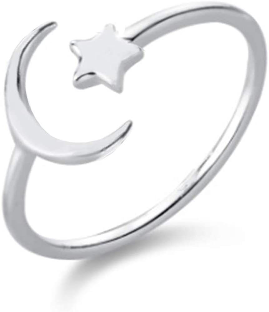 Star Crescent Moon Minimalist Cute S925 Sterling Silver Engagement Open Rings for Women Teen Girls Dainty Adjustable Finger Promise Statement Expandable Simple Ring Jewelry Gifts for Birthday Bff