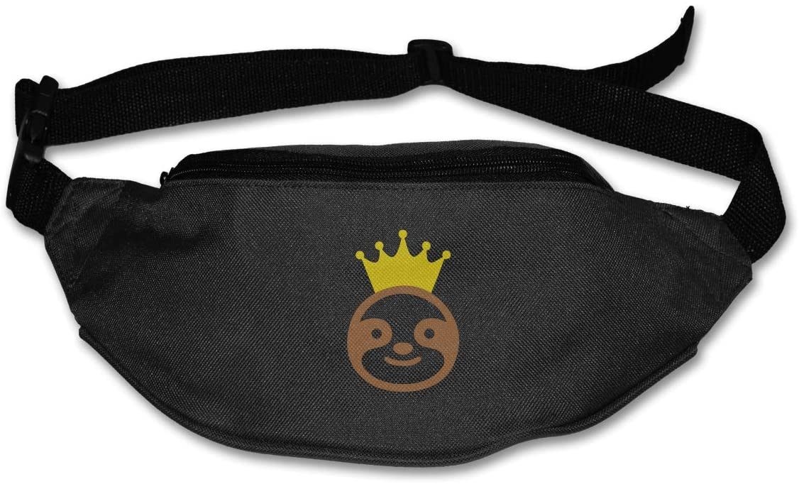 SWEET-YZ Unisex Waist Pack Crown Sloth Flat Fanny Bag Pack for Sport Running