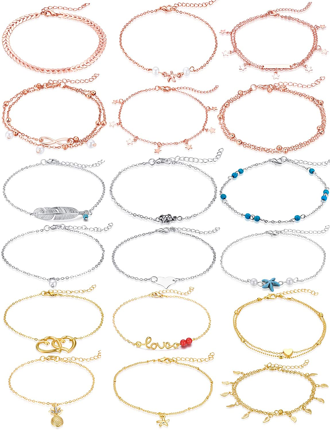 Cocamiky 18Pcs Anklet Bracelets for Women Girls Gold Silver Rose Gold Ankle Set Boho Layered Beach Adjustable Chain Anklet Foot Jewelry