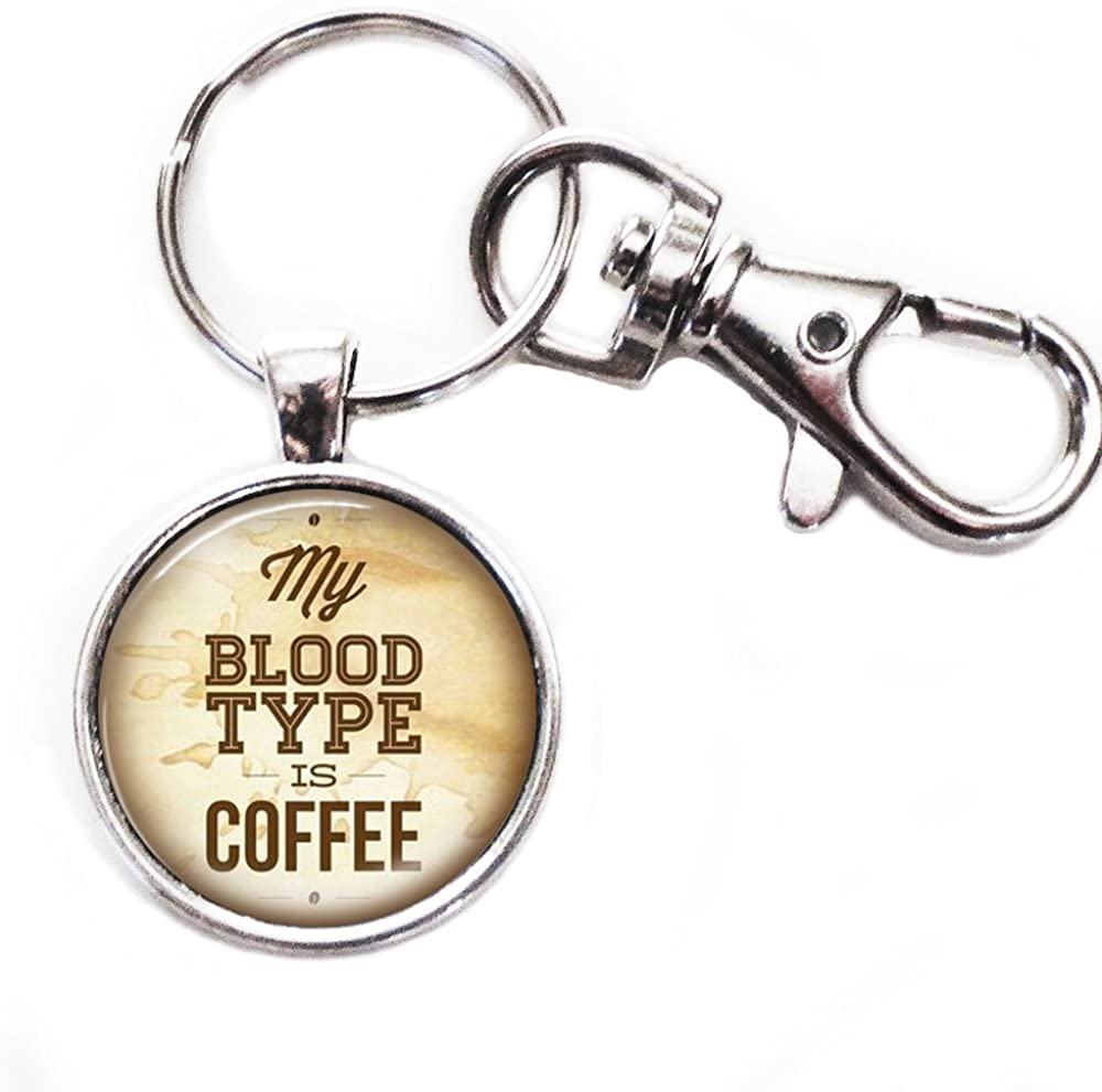 My Blood Type Is Coffee - Silver Keychain with Glass Image, Large Lobster Claw