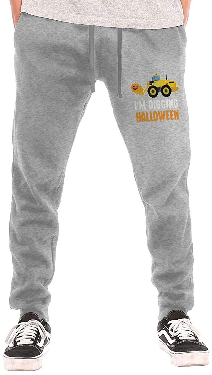 I'm Digging Halloween Pumpkin Face Tractor Men Jogger Sweatpants Sports Long Tights Pants