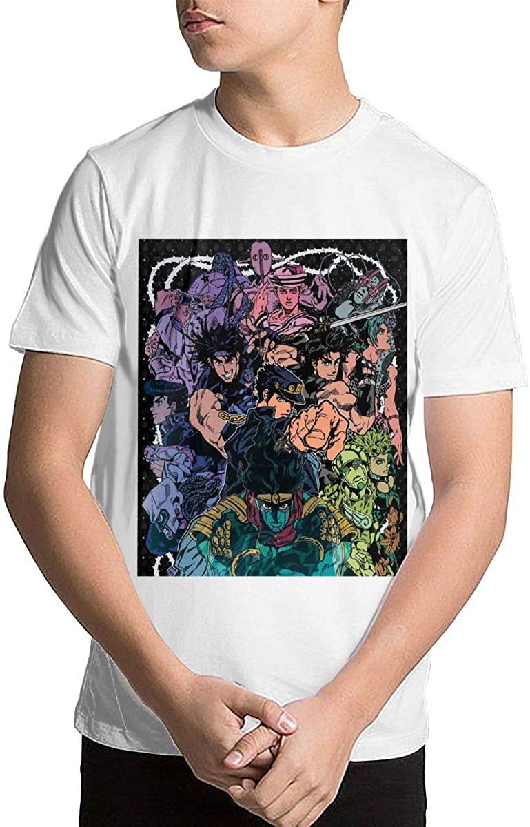 Joseph L Hurwitz Youth Kids' JoJo's Bizarre Adventure Short Sleeve Printed T-Shirt Crewneck Shirt Short Sleeve