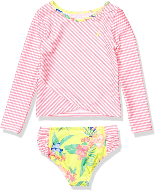 Nautica Girls' Rashguard Swim Suit Set