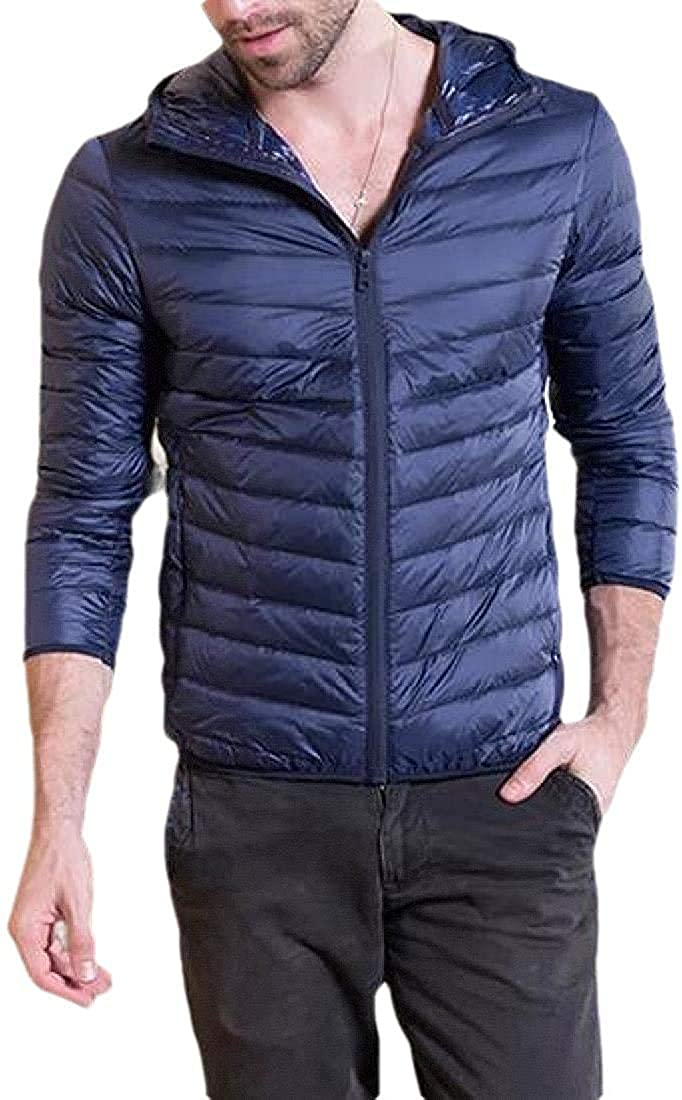 Xudcufyhu Men's Casual Coat Cotton-Padded Hoodie Puffer Quilted Down Jacket