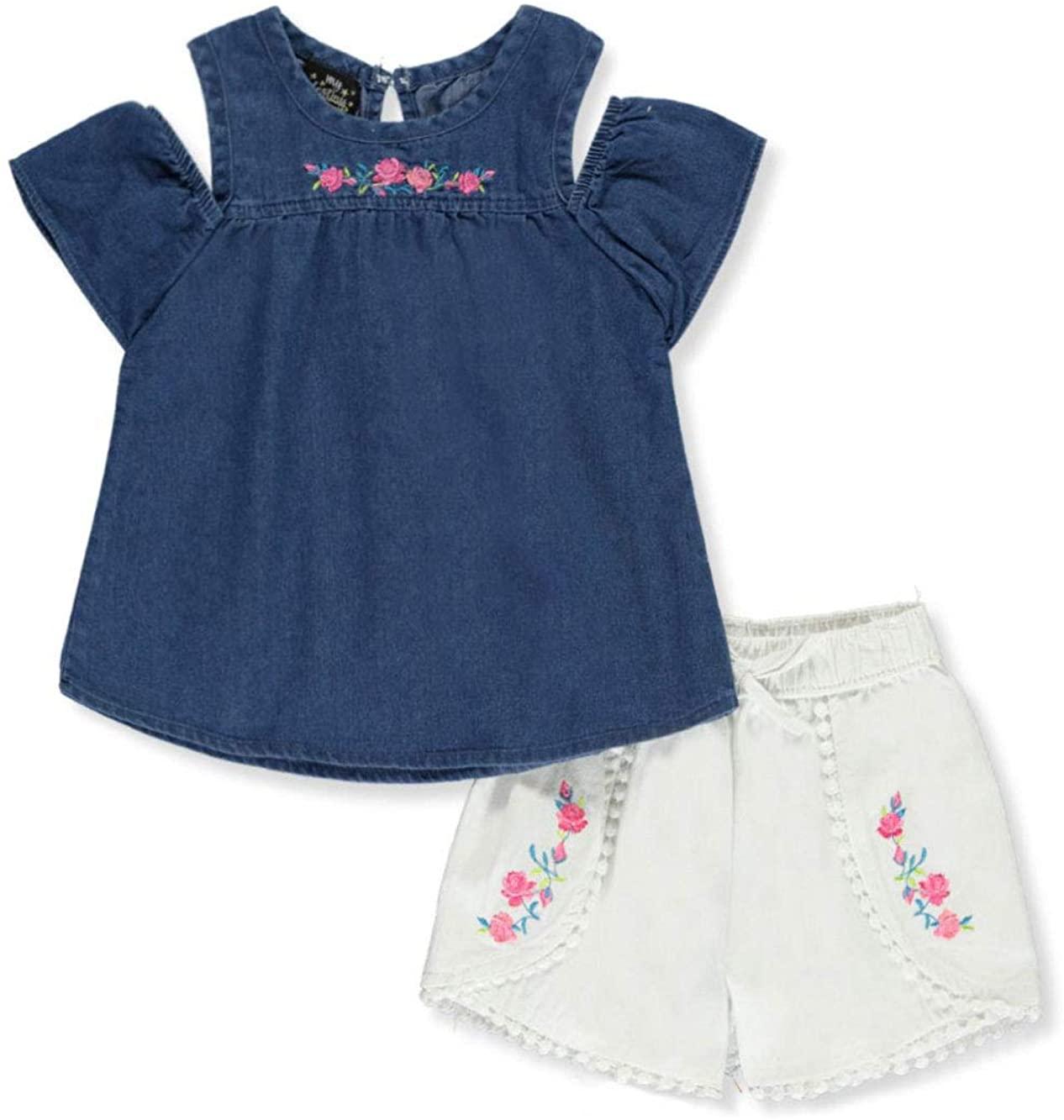 My Destiny Little Girls Floral 2-Piece Shorts Set Outfit - Denim Blue/Multi, 6X