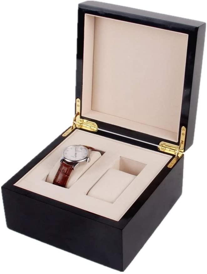 PUEEPDEE Watch Storage Box Watch Box Wooden Watch Storage Display Box 2-Slot Black Watch Storage Boxes for Men (Color : Black, Size : 18.518.510.5cm)