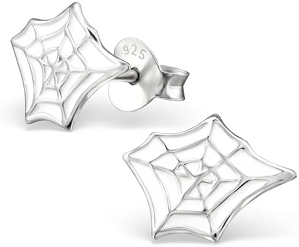 Liara Spider Web Stud Earrings for Girls - 925 Sterling Silver - Animal Figures for Pierced Ears - Perfect Jewelry Gift For Daughter, Granddaughter, Niece