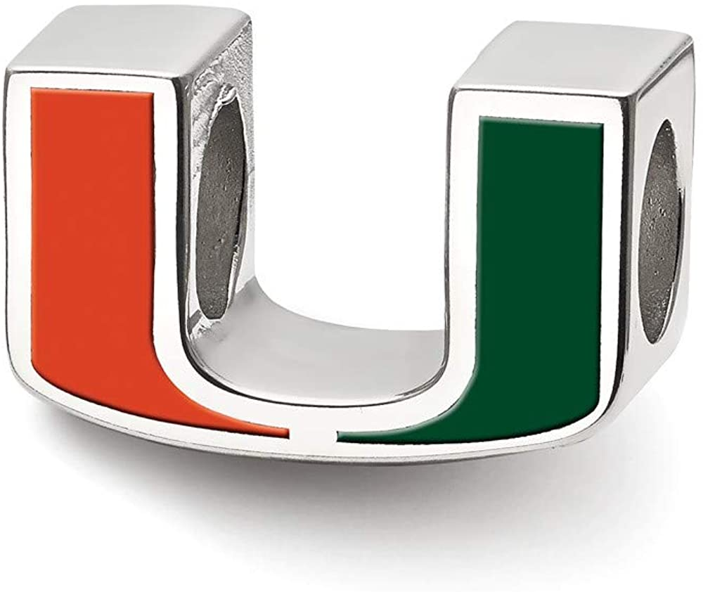 Bead Charm White Sterling Silver Florida NCAA University Of Miami 9.2 mm 14.4