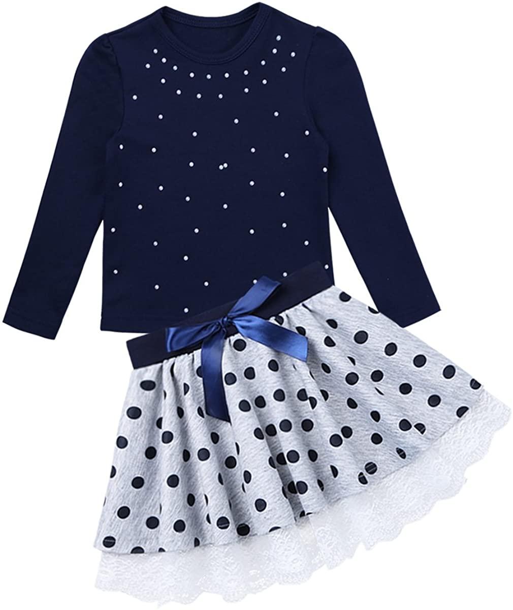 Freebily Kids Girl Cute 2PCS Skirt Clothing Set Long Sleeve Top +Polka Dot Tutu Skirt Playwear