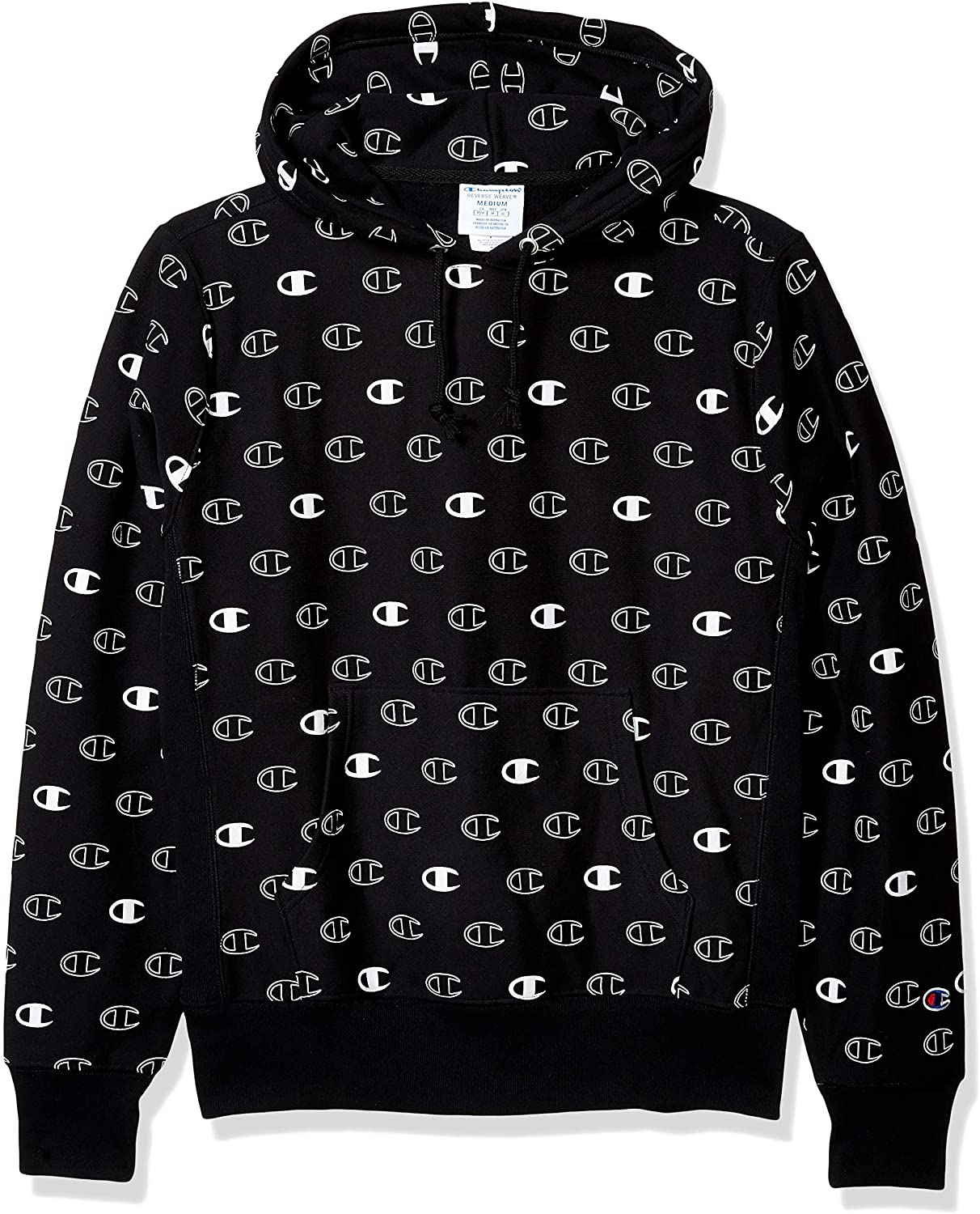 Champion LIFE Mens Reverse Weave with Hood-Tossed, C Logo Spaced