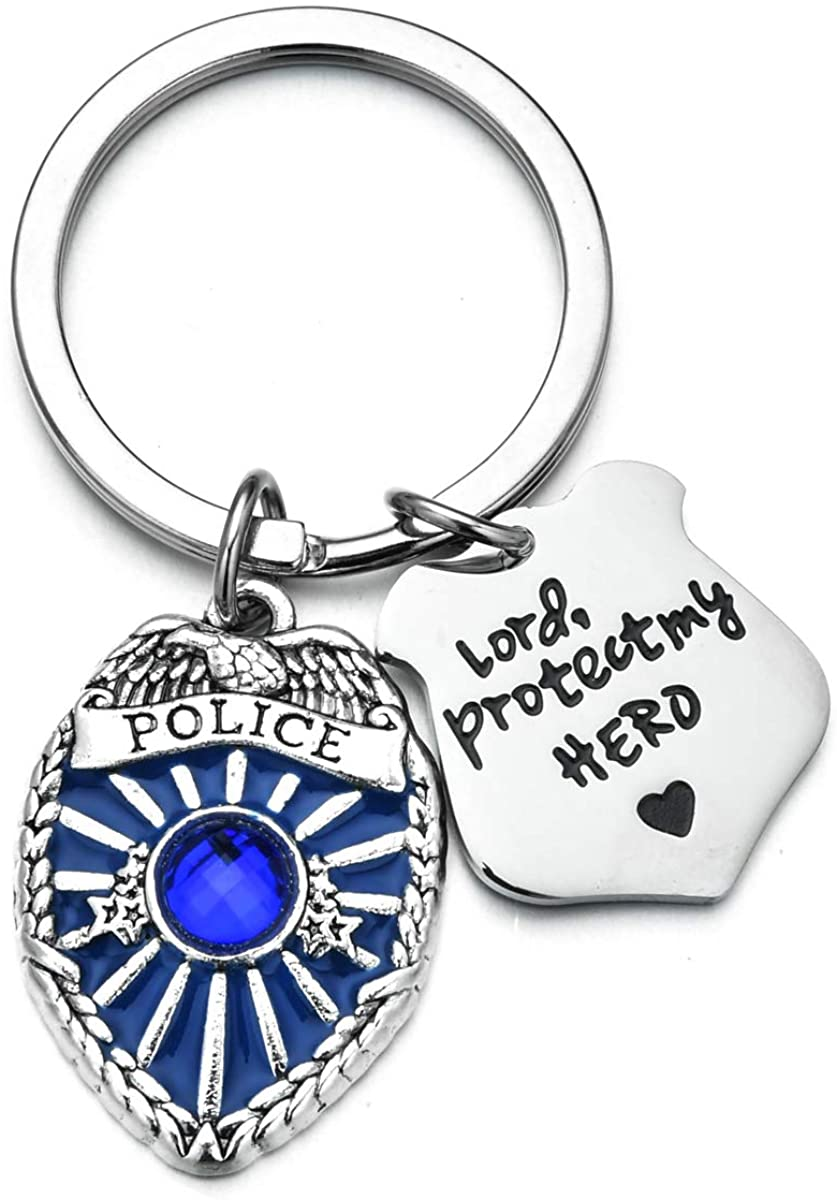 Police Keychain Lord Protect My Hero Police Badge Keychain Police Wife Girlfriend Keychain Gift for Police Jewelry Gifts for Police Officers & Police Wives