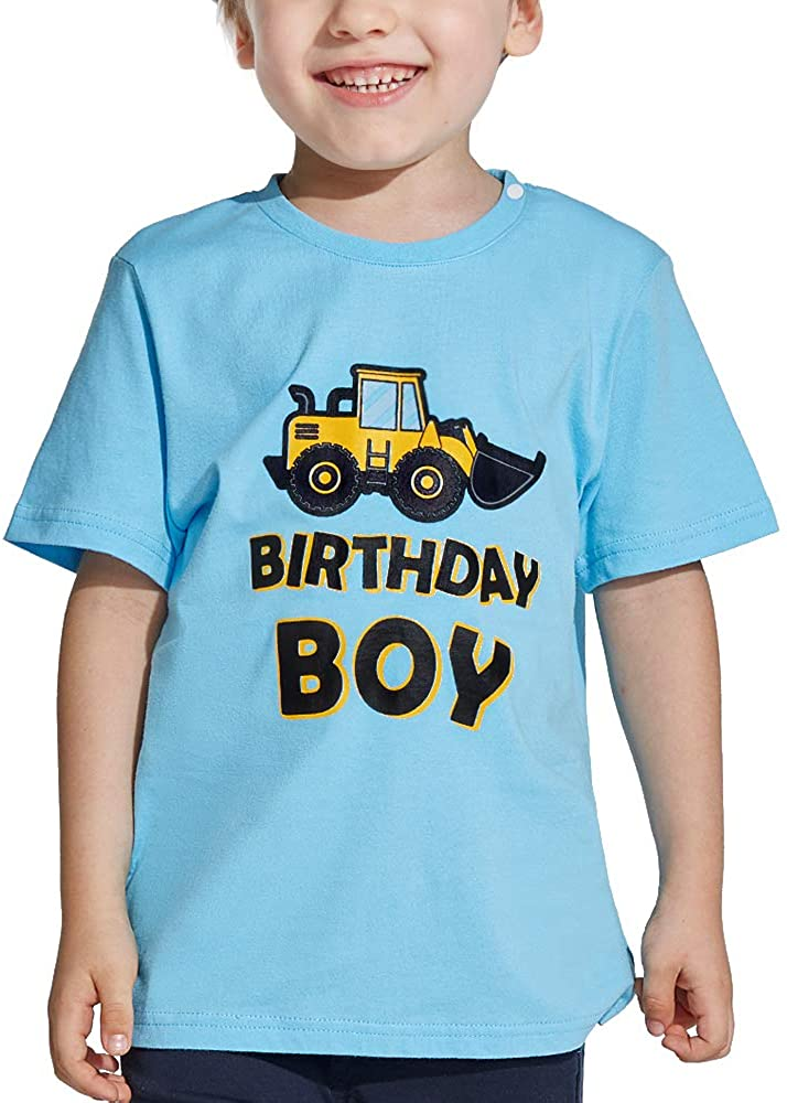AMZTM Boy Birthday Shirt Gift B-Day Party T-Shirt Construction Truck Tee Gift