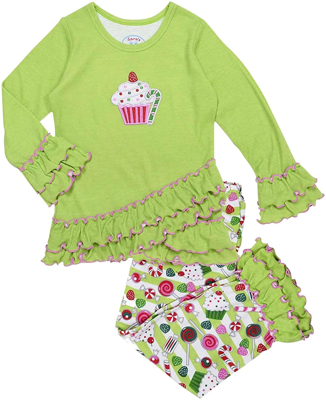 Sara's Prints Girls' Cupcake & Sweet Treats Ruffled Pajama Set