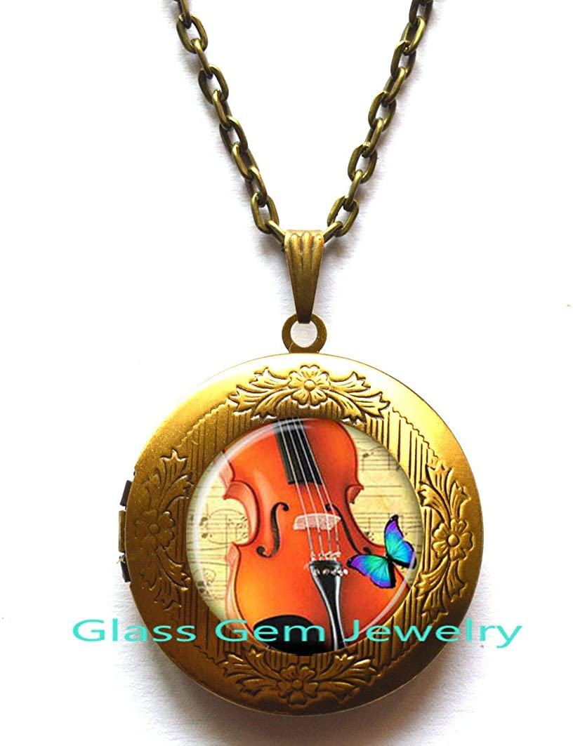 Violin Locket Pendant Violin Locket Necklace Violin jewelry for musician music Locket Pendant glass Cabochon Locket Necklace.XY44