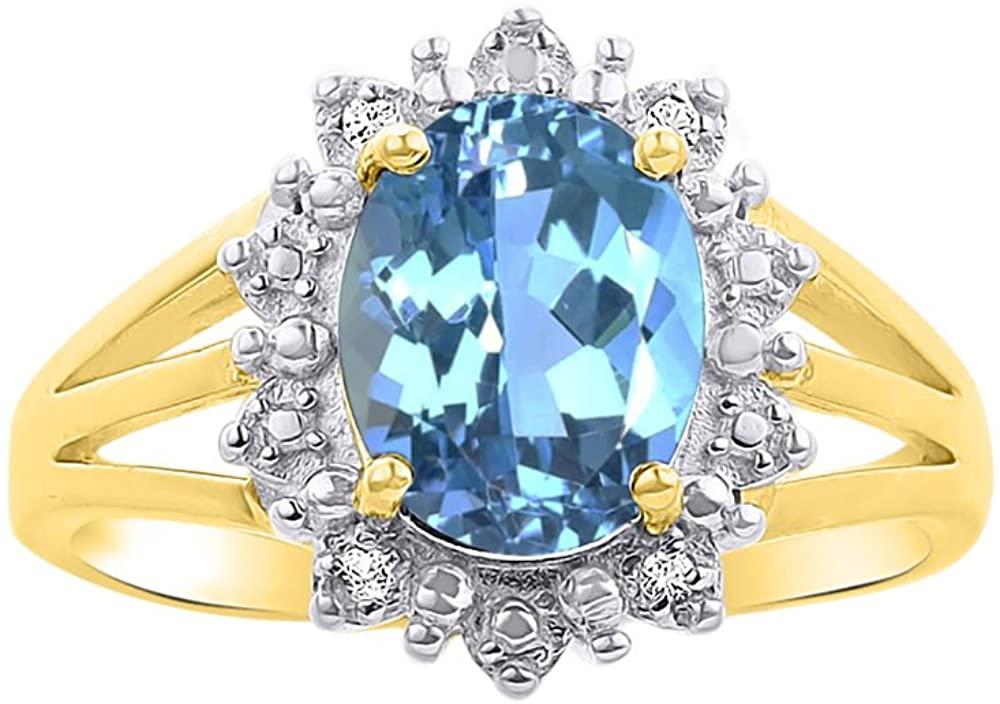 Diamond & Blue Topaz Ring Set In 14K Yellow Gold - Princess Diana Inspired Halo Desginer