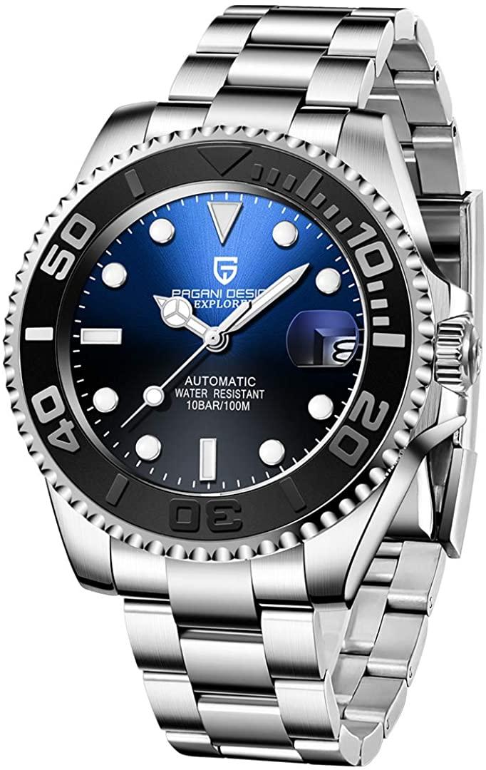 Pagani Design Japanese Movement Waterproof Men Watches, Stylish Matte Bezel, Stainless Steel Bracelet, Automatic Mechanical Watches