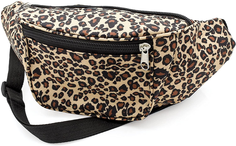 Brown Animal Leopard Print Waist Bag Fanny Pack Money Bum Bag Hip Belt