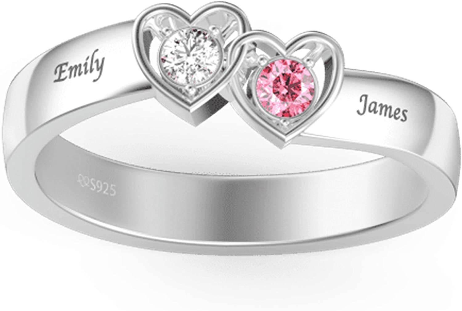 Personalized Mothers Ring with 2 Simulated Birthstones Sterling Silver Family Name Rings Custom Couple Engagement Rings for Her