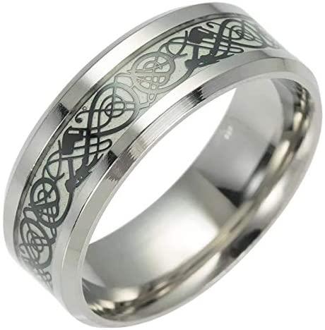 TwoBirch Black Luminous Glow Celtic Dragon Wedding Ring Glowing Dragon Comfort Fit Wedding Ring 8 MM