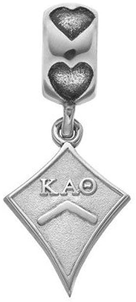 Bead Charm White Sterling Silver Greek Kappa Alpha Theta