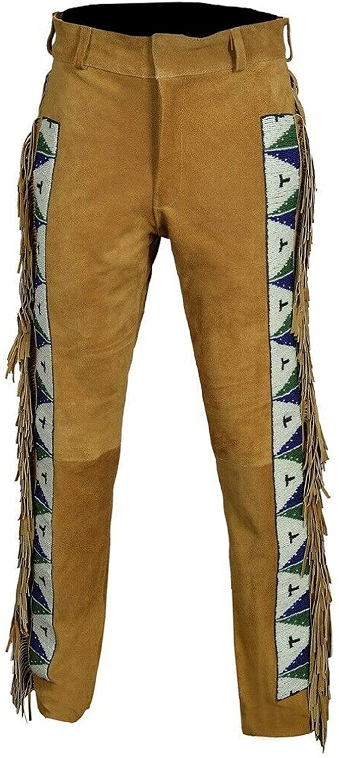 Men's Native American Genuine Suede Leather Pants Sioux Beads Fringe