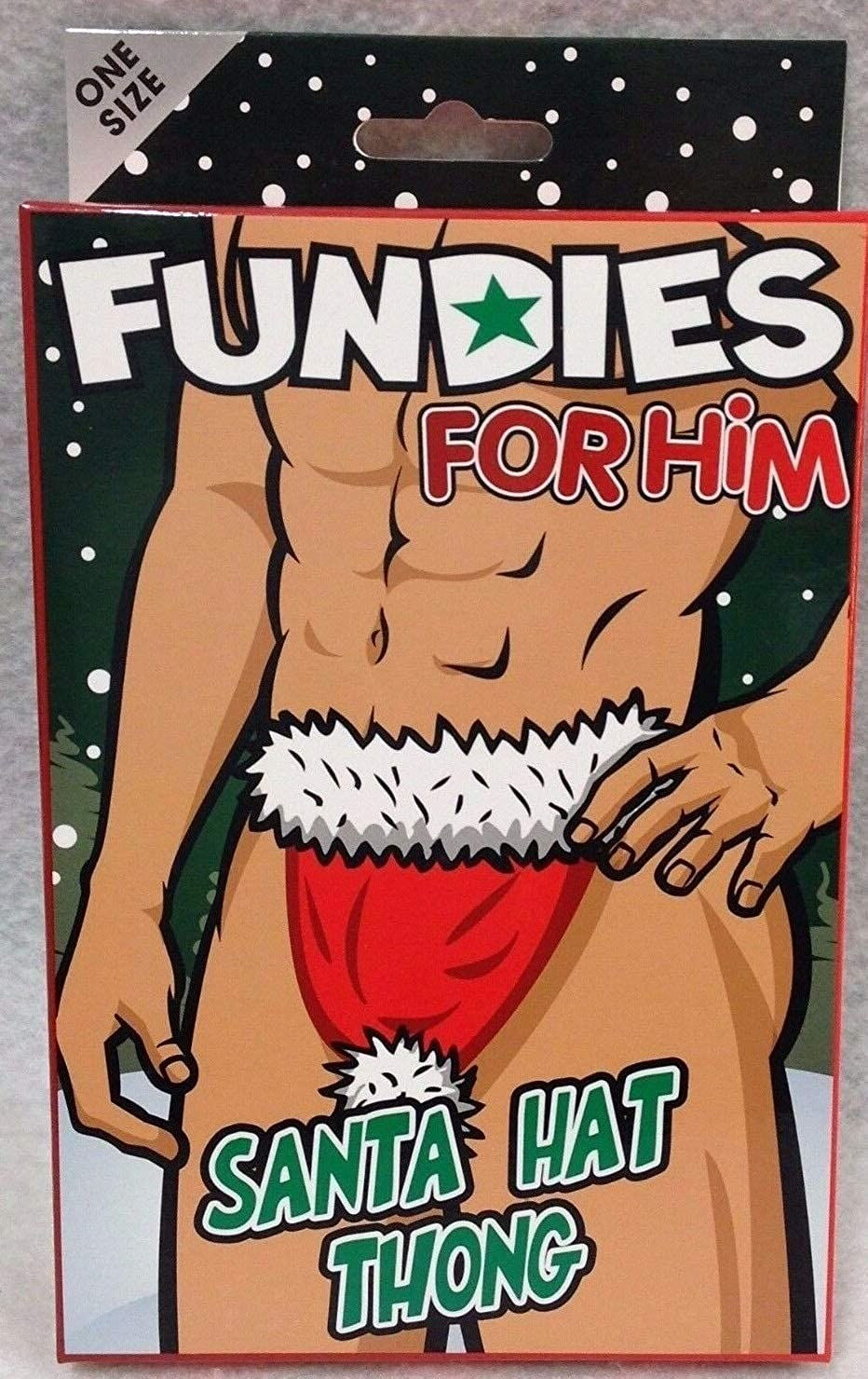 Fundies for Him Santa's Hat Thong Red White Naughty Stripper Holiday Gag Gift