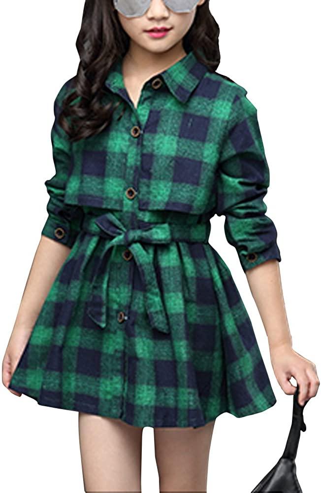 Little & Big Girls' Kids Check Plaid Long Sleeve Collar Neck Casual Button Down Shirt Dress