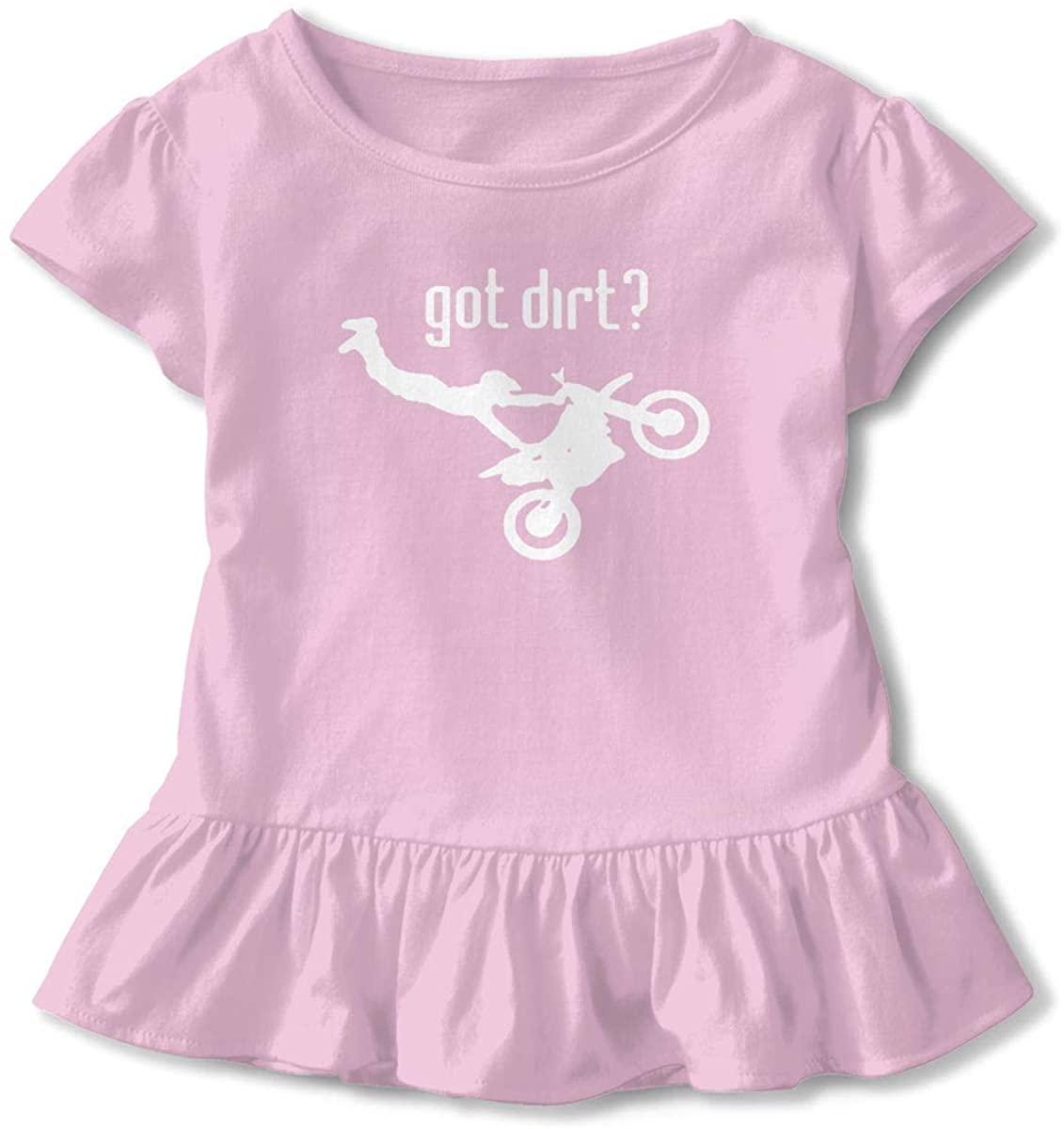 Got Dirt Bike Motocross Girls Kids Cute Tee Baseball Ruffle Dress Short Sleeve Cotton T Shirt Tops