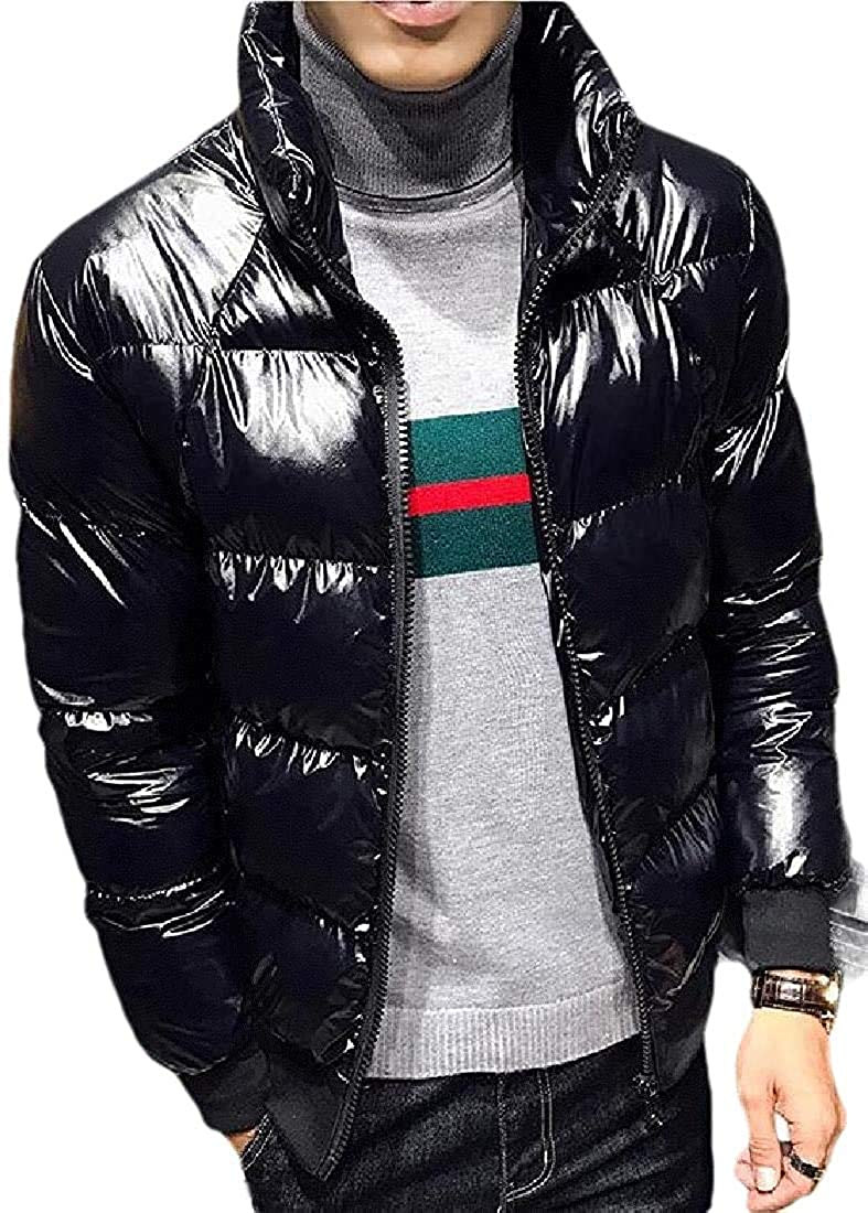 Ghsywgy Mens Quilted Cotton-Padded Puffer Outwear Hooded Down Jacket
