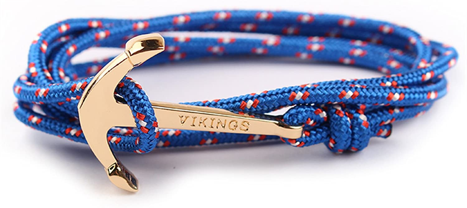 CandyBrowser Happiness Jewelry Nylon Rope Sailing Vikings Wrap Bracelet with Nautical Anchor Alloy Clasp 28 Inches