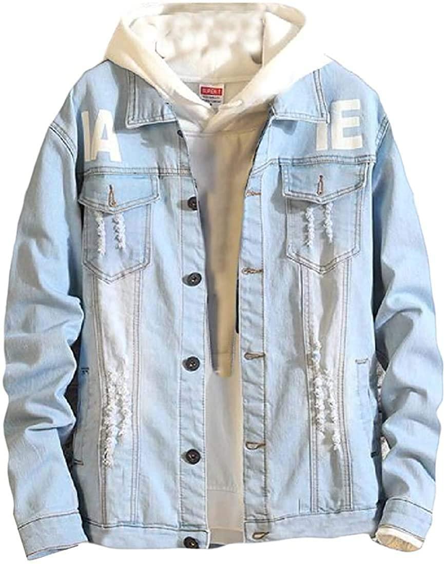 Aysselt Men Slim Hole Button Jean Coat Letters Print Denim Jacket