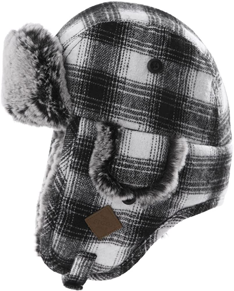 Jeff & Aimy Stylish Plaid Winter Wool Trapper Faux Fur Earflap Hunting Hat Ushanka Russian Cold Weather Thick Lined