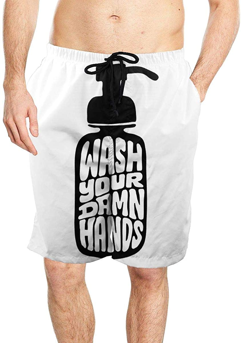 Wash Your Damn Hands Men's Seaside Beach Swim Trunks Quick-Drying Stretch Comfortable Shorts