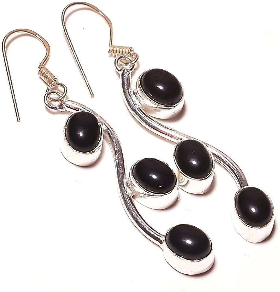 Gift for Girlfriend! Black Onyx HANDAMDE Jewelry Sterliing Silver Plated Earring 2.25