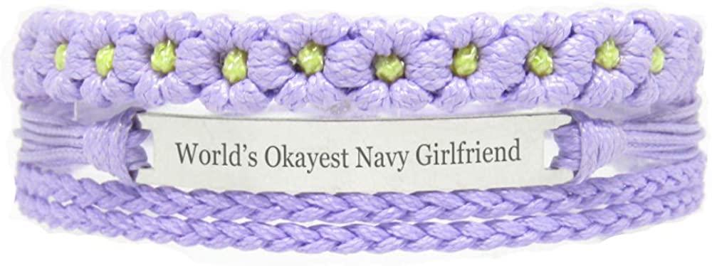 Miiras Family Engraved Handmade Bracelet - World's Okayest Navy Girlfriend - Purple FL - Made of Braided Rope and Stainless Steel - Gift for Navy Girlfriend