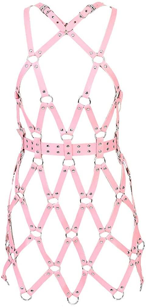 Women Leather Full Body Harness Lingerie Gothic Adjust Cage Bra Waist Belt Garter EDC Festival Rave Halloween Costume (Pink 230)