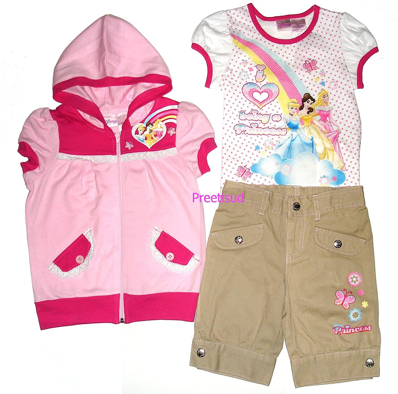 Princess Disney 3PC Glitter Jacket & Shorts Set~ Girls 6 Pink