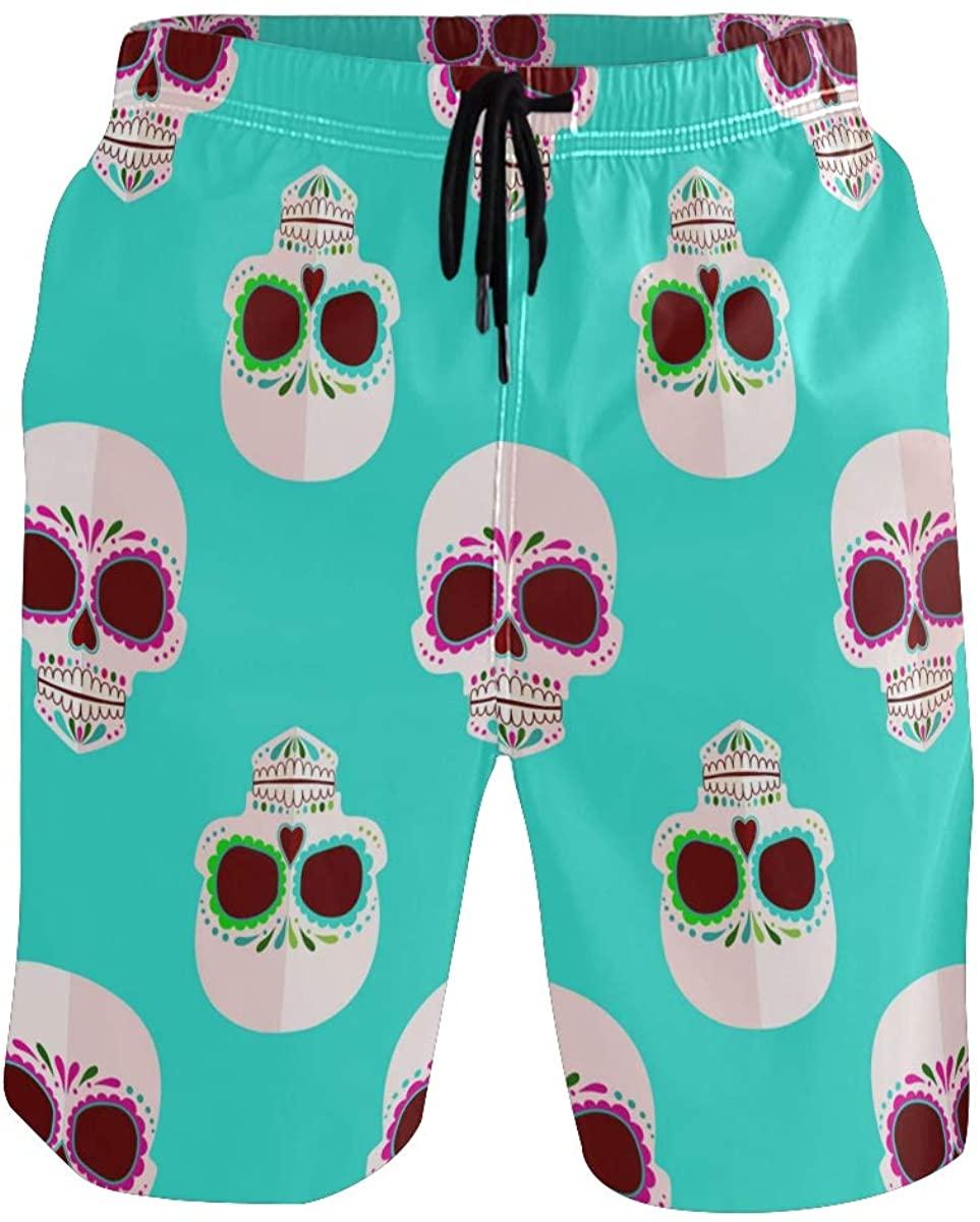 Sinestour Mens Swim Trunks Happy Halloween Beach Swimwear Shorts with Pocket Beach Shorts