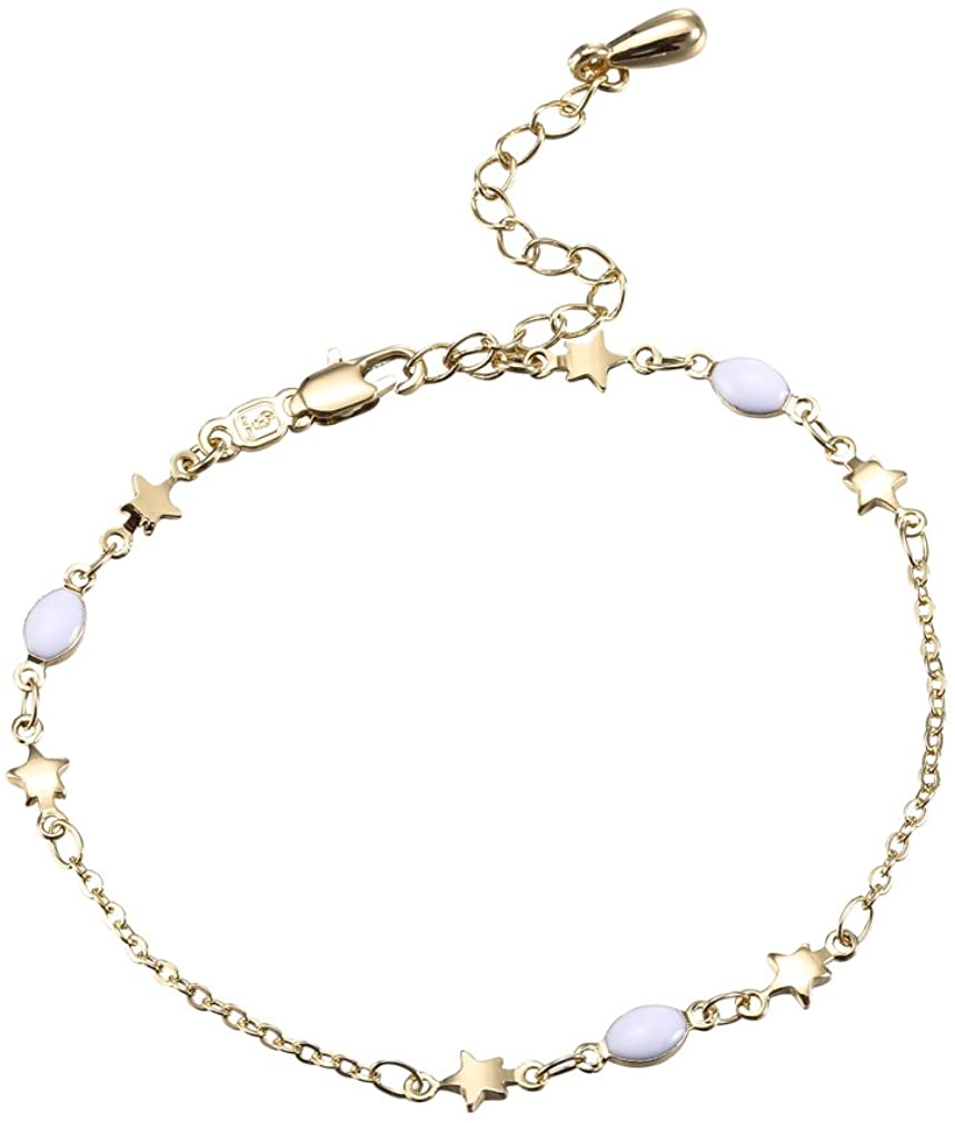 YAZILIND Gold Plated Charming Star Chain Friendship Adjustable Link Bracelets Nickel Free for Women Girls