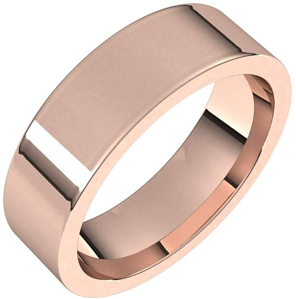 Solid 18K Rose Gold 6mm Flat Comfort Fit Wedding Band Size 6.5